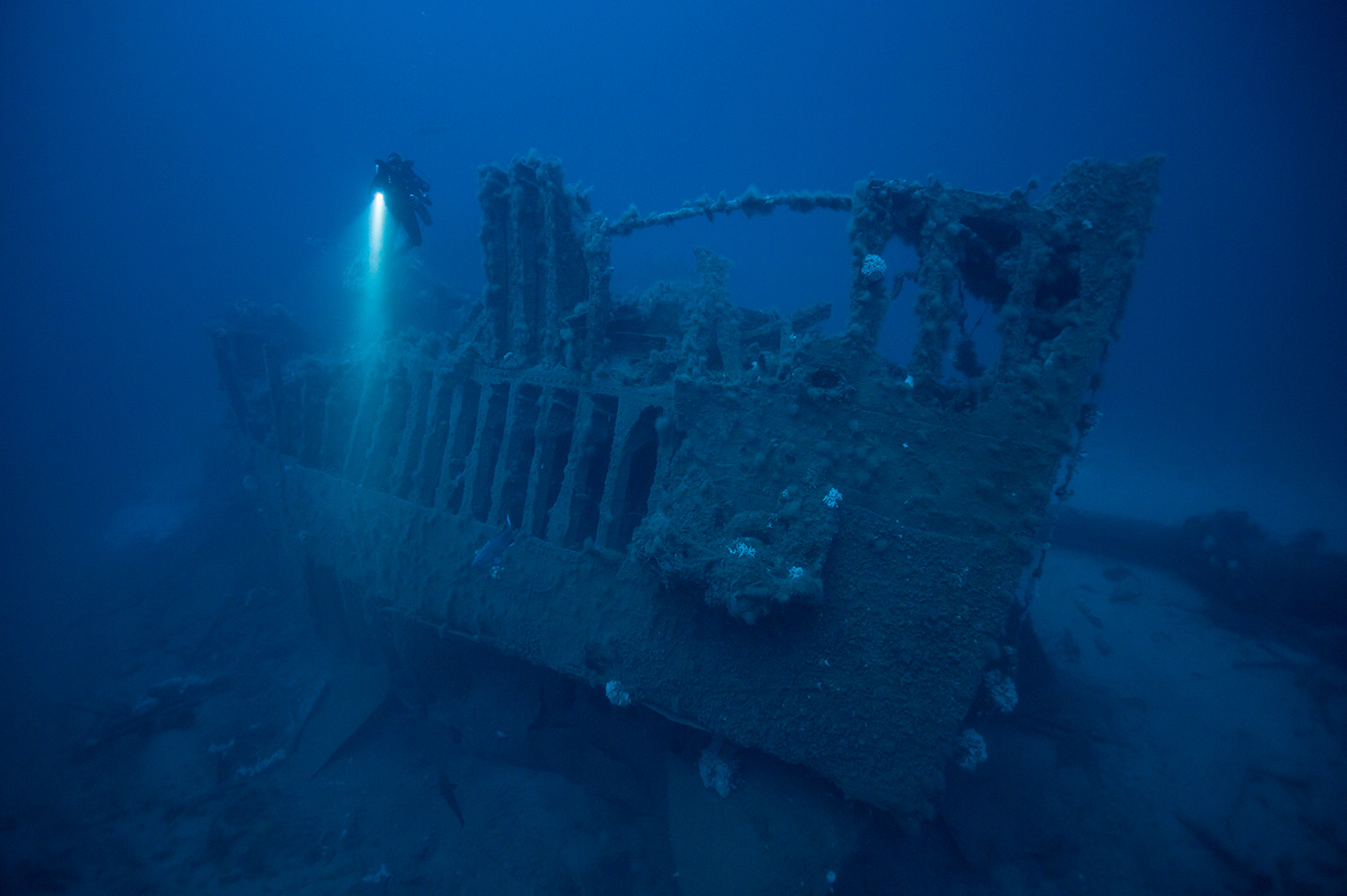 Bigblue dive lights sunken ship underwater photography